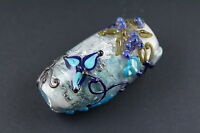 Leah Fairbanks Blue Tapestry Lampworked Glass Bead