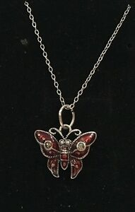 """VINTAGE STERLING SILVER RED ENAMEL BUTTERFLY & MARCASITE PENDANT-46cm (18"""")CHAIN"""
