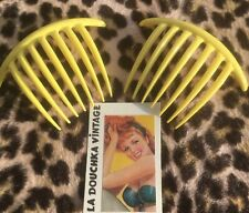 French 1960s Women Yellow Large Ornament Hair Combs~Set Of 2~Made In France~New