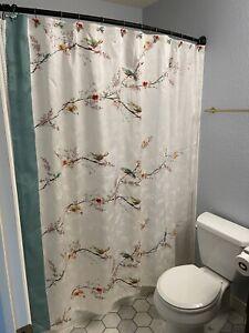 Lenox Chirp Birds Floral Damask 66 X 70 Shower Curtain w/ Bird & Flower Hooks