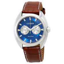 Citizen Paradex Blue Dial Mens Brown Leather Watch BU4010-05L