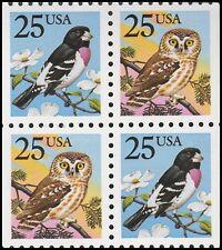 US 2284-2285 Owl & Grosbeak 25c block (4 stamps) MNH 1988