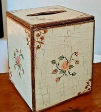 Handmade Tissue Box Cover - Kleenex - Wood Floral Painted