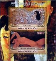 Mali - Classic Art by Modigliani & Schiele - 2 Stamp  Sheet 13H-227