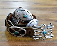 Vintage Sterling Silver and Turquoise Concho Belt on Leather