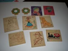 10 wooden blocks with pictures some painted
