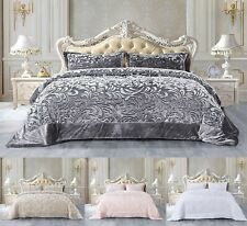 3 PCs Quilted Super Soft Embossed Teddy Fleece Bedspread Throw Bedding Set
