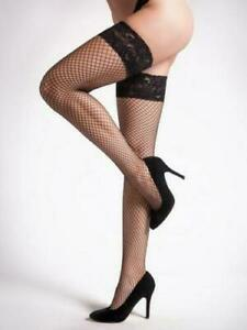Ann Summers Sexy Lace Top Fishnet Hold-ups Black s/m & l/xl
