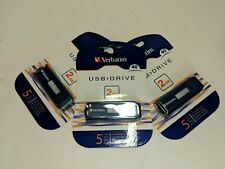 NEW Lot of 3 Verbatim Store n' Go 2 GB USB Flash Drives Sealed # 97086 1002-324