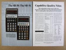 1975 TI Texas Instruments SR-50 SR-51 Calculators vintage print Ad