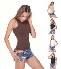 Women's Basic Crew Neck Sleeveless Solid Color Stretchy Seamless Bodysuit Top