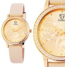 Damen Armbanduhr Rose Gelbgold/Beige Crystalbesatz 192204000001 von PIERRINI