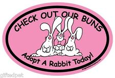 Check Out Our Buns ~ Adopt A Rabbit Today! Pink Oval Magnet
