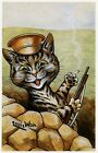 Louis Wain print WWI BRITISH MILITARY CAT IN TRENCH funny cat illustration art