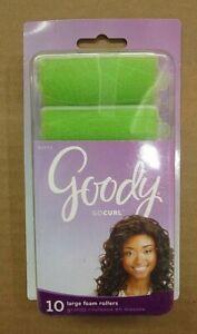 GOODY Large Foam Hair Rollers Green  Package of 10