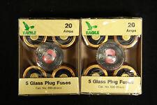 Eagle OK Glass Plug Fuses 690-20 20 Amps 125V Lot of 2 Boxes of 5