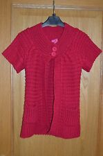 Ladies Raspberry Pink Thick Knit Winter Cardigan Size 8