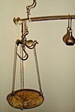Antique iron & brass hanging beam steelyard scale with pan & 3/4 okka weight