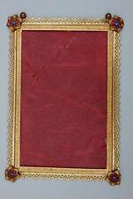 Vergoldeter Metall-Rahmen Grafik-Rahmen mit Blüten, um 1880