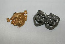 """Theater Comedy - Tragedy Masks  Pin and """"Akan goldweight""""   Mask Pendant Set"""