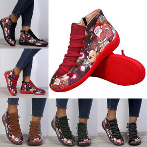 Women's Christmas Santa Claus Ankle Boots Wedge Shoes Winter Strap Boots Booties