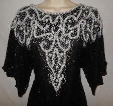 Beaded Formal Dress L Womens 14-16 Black Silky Nites Cherish Short Sleeve 7g2