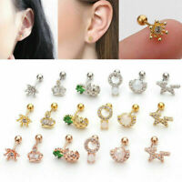 Pinwheel Tragus Cartilage Helix Bar Ear Stud Rose Gold Plated  6mm x 1.2mm