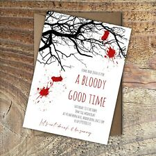 HALLOWEEN INVITATIONS Party Spooky tree, A bloody good time. Personalised PK 10