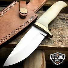 "7.5"" GENUINE BONE HANDLE FULL TANG Skinner Hunting Knife Stainless Steel Blade"