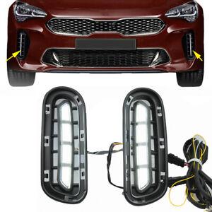 12V LED Daytime Fog Light Driving Lamp Fit For Kia Stinger 2018 2019 2020