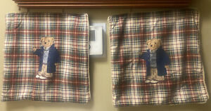 POLO RALPH LAUREN TEDDY BEAR PLAID PILLOW CASES SET OF 2