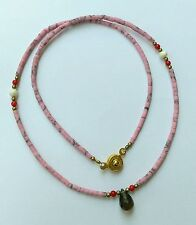 Afghan Natural Pink Opal Tiny Beads Necklace with Smokey Quartz Pendant & Brass