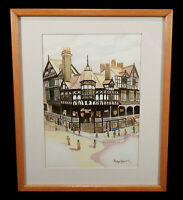 PHILIPPE ROESSLER FRENCH WATERCOLOR PAINTING STREET SCENE BAVARIAN ARCHITECTURE