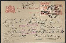 Netherland Indies 1929 uprated AirmailPC  TJIMAHI to The Hague
