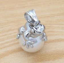 "Silver White Frog Pearl Charm Pendant with 18"" Bead Chain Necklace"