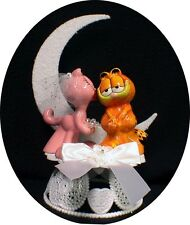 Garfield & Arlene KISS Wedding Cake Topper  Cat Kitty adorable Funny Porcelain