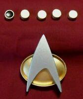 Star Trek The Next Generation Communicator Pin Badge Combadge  + Rank Pip SET