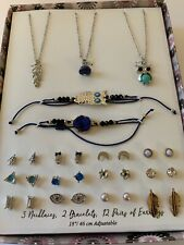 Girls Jewelry Boxed Gift Set Owl Feather 2 Bracelets 3 Necklaces 12 Earrings Lot