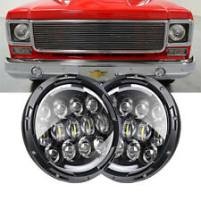 """Pair 7"""" Inch Round Projector LED Black Headlight Hi/Lo for Chevrolet C10 77-1980"""