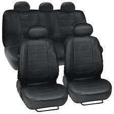 Black Synthetic Leather Set Car Seat Cover Genuine Leather Feel Front & Rear Set (Fits: Dodge Stealth)