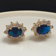 6mmx8mm Oval Zirconia Blue Sapphire CZ Stud Flower Earrings Yellow Gold Filled