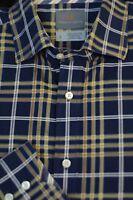 Thomas Dean Men's Navy & Gold Check Cotton Casual Shirt L Large