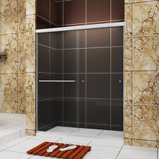 """SUNNY SHOWER Semi-Frameless Bypass Sliding Shower Doors 56""""-60"""" W Brushed Nickel"""