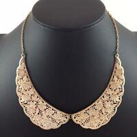 Vintage Rhinestone Flower Leaf Floral Collar Necklace Distressed Goldtone