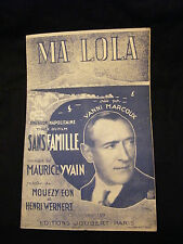 Partition Ma Lola Maurice Yvain Vanni Marcoux Music Sheet