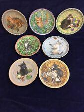 "Leslie Ann Ivory Meet My Kittens Collectable 7"" Plates Jan Mar Apr Aug Sept Nov"