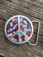"PSYCHEDELIC acrylic swirl PEACE SIGN silver BELT BUCKLE colorful 2"" diameter"