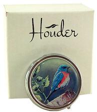 Bird Pill Box For Purse Decorative Pill Case Pretty Blue Bird Holder Mint Metal