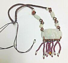 Asian White Jade Carved DRAGON Necklace Macrame w/ Grape Garnets