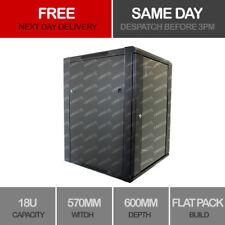 "Linxcom 18U 19"" Network Wall Cabinet Data Comms Rack  570x600mm Black"